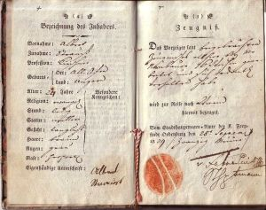 Travelling book of a German-Hungarian furrier. Page 4-5