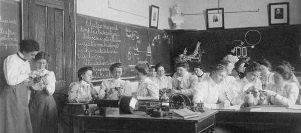 Girls studying electromagnetism